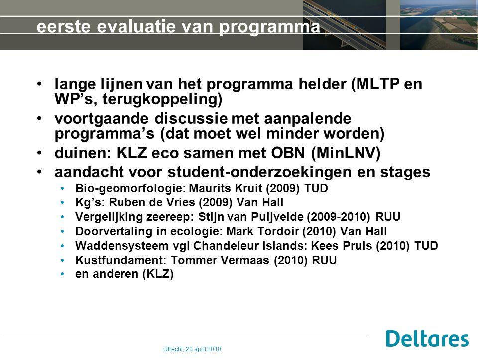 Utrecht, 20 april 2010 eerste evaluatie van programma lange lijnen van het programma helder (MLTP en WP's, terugkoppeling) voortgaande discussie met a