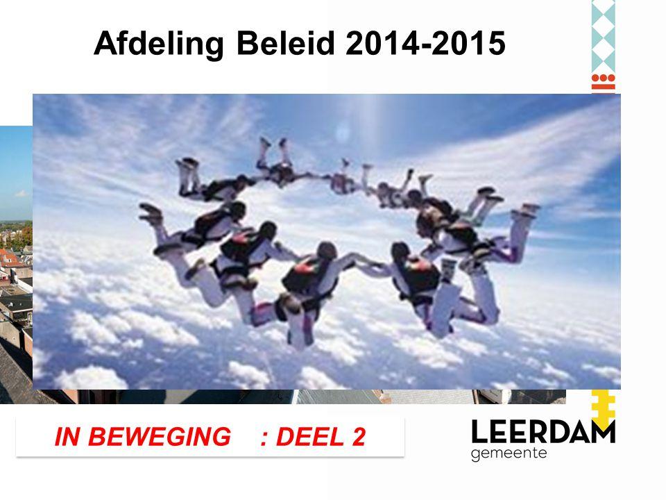 Beleidsterrein: Afdeling Beleid 2014-2015 Organisatie IN BEWEGING : DEEL 2