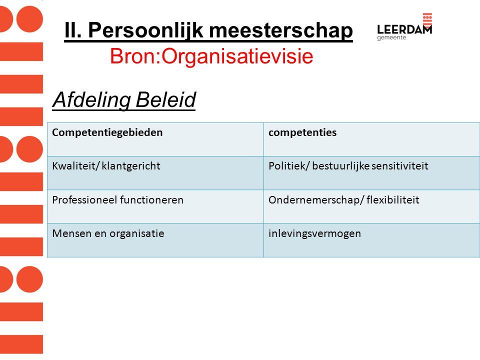 II. Persoonlijk meesterschap Bron:Organisatievisie Afdeling Beleid Competentiegebiedencompetenties Kwaliteit/ klantgerichtPolitiek/ bestuurlijke sensi