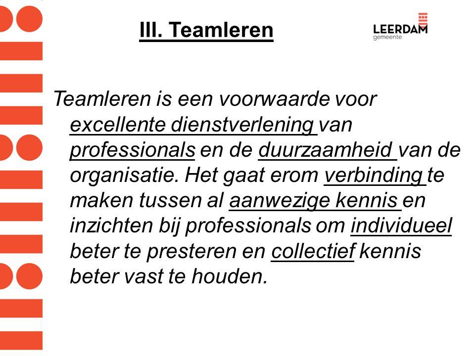 III. Teamleren Teamleren is een voorwaarde voor excellente dienstverlening van professionals en de duurzaamheid van de organisatie. Het gaat erom verb