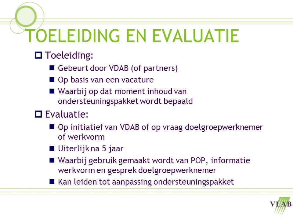 TOELEIDING EN EVALUATIE  Toeleiding: Gebeurt door VDAB (of partners) Op basis van een vacature Waarbij op dat moment inhoud van ondersteuningspakket