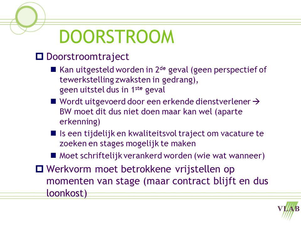 DOORSTROOM  Doorstroomtraject Kan uitgesteld worden in 2 de geval (geen perspectief of tewerkstelling zwaksten in gedrang), geen uitstel dus in 1 ste