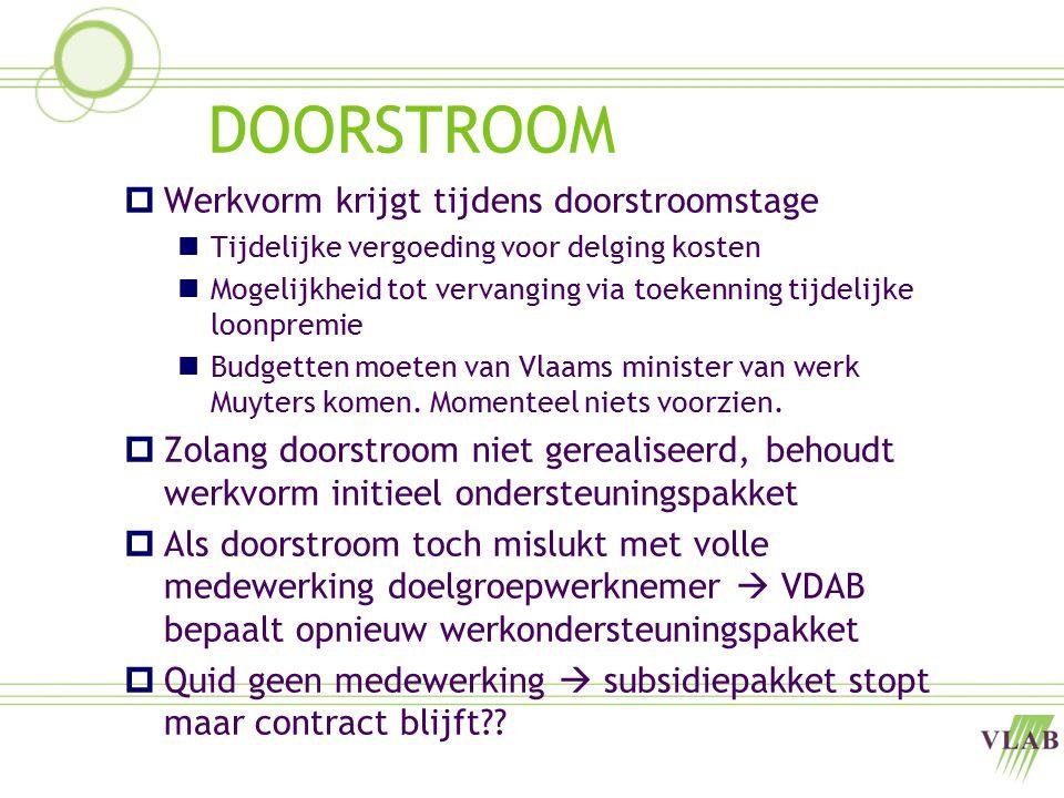 DOORSTROOM  Werkvorm krijgt tijdens doorstroomstage Tijdelijke vergoeding voor delging kosten Mogelijkheid tot vervanging via toekenning tijdelijke loonpremie Budgetten moeten van Vlaams minister van werk Muyters komen.