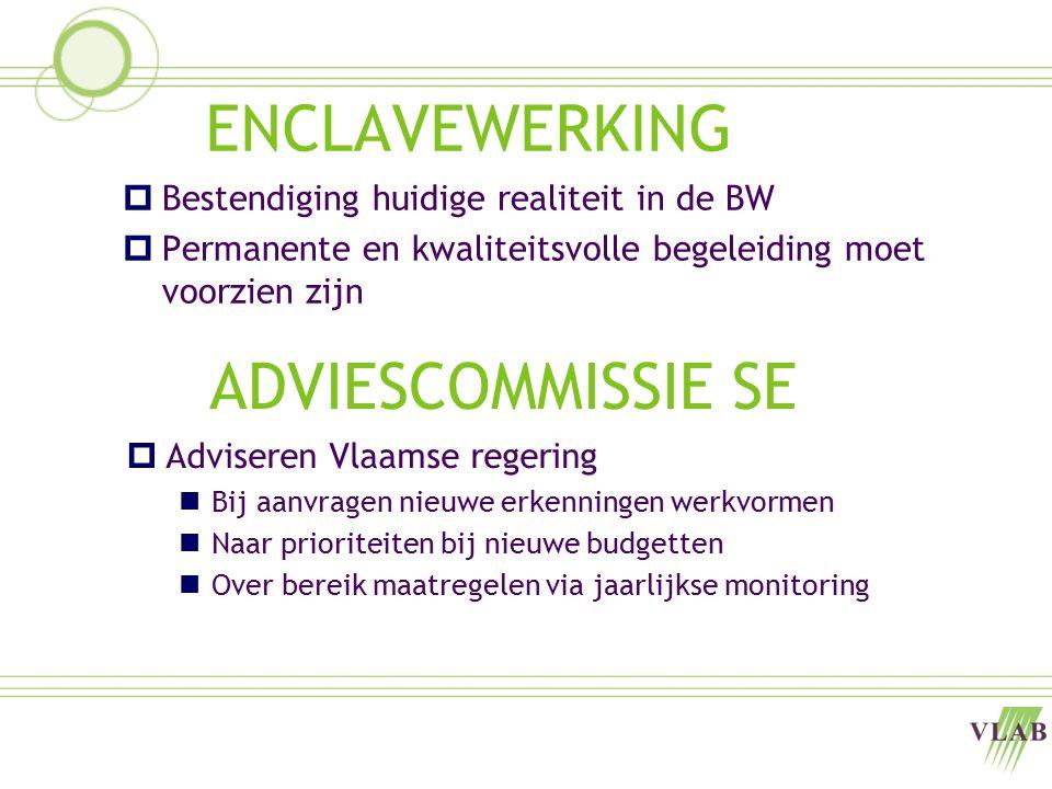 ENCLAVEWERKING  Bestendiging huidige realiteit in de BW  Permanente en kwaliteitsvolle begeleiding moet voorzien zijn ADVIESCOMMISSIE SE  Adviseren Vlaamse regering Bij aanvragen nieuwe erkenningen werkvormen Naar prioriteiten bij nieuwe budgetten Over bereik maatregelen via jaarlijkse monitoring