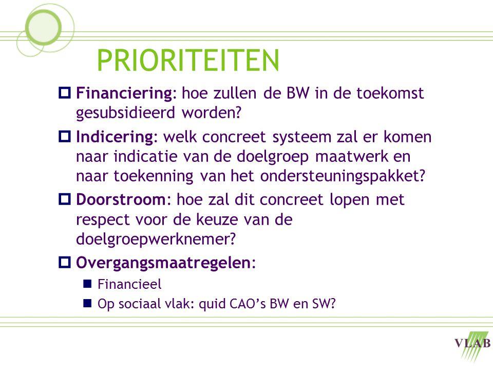PRIORITEITEN  Financiering: hoe zullen de BW in de toekomst gesubsidieerd worden?  Indicering: welk concreet systeem zal er komen naar indicatie van