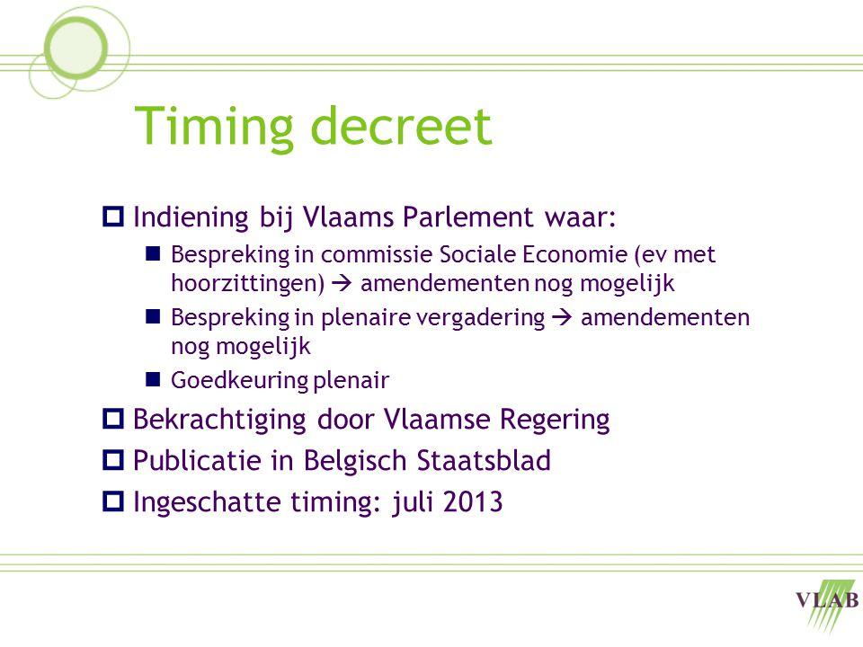 Timing decreet  Indiening bij Vlaams Parlement waar: Bespreking in commissie Sociale Economie (ev met hoorzittingen)  amendementen nog mogelijk Besp