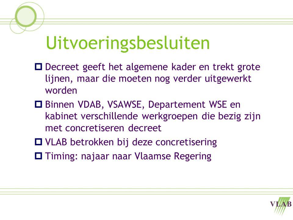 Uitvoeringsbesluiten  Decreet geeft het algemene kader en trekt grote lijnen, maar die moeten nog verder uitgewerkt worden  Binnen VDAB, VSAWSE, Departement WSE en kabinet verschillende werkgroepen die bezig zijn met concretiseren decreet  VLAB betrokken bij deze concretisering  Timing: najaar naar Vlaamse Regering