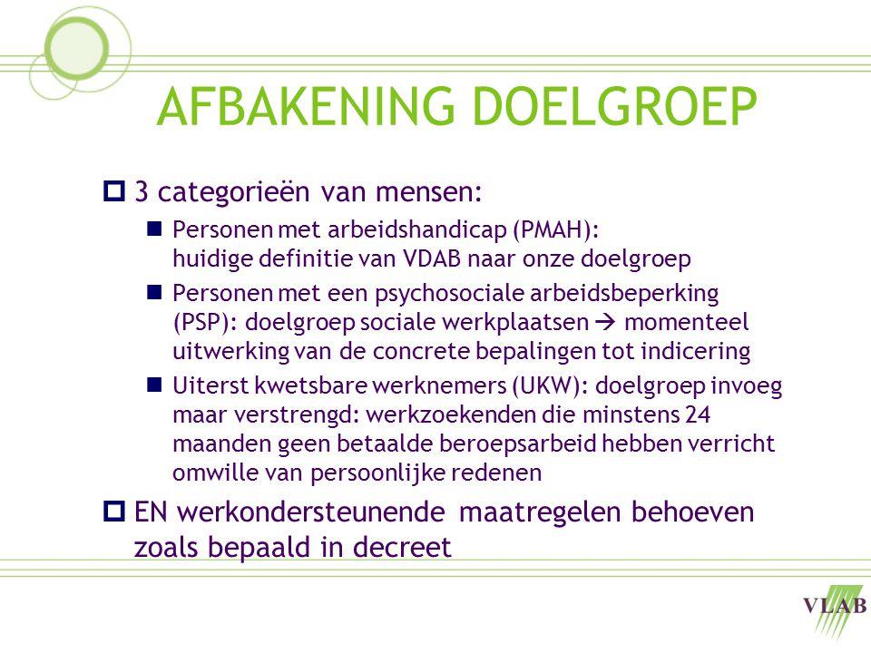 AFBAKENING DOELGROEP  3 categorieën van mensen: Personen met arbeidshandicap (PMAH): huidige definitie van VDAB naar onze doelgroep Personen met een