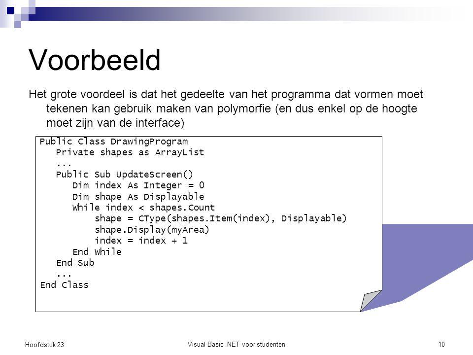 Hoofdstuk 23 Visual Basic.NET voor studenten10 Voorbeeld Het grote voordeel is dat het gedeelte van het programma dat vormen moet tekenen kan gebruik