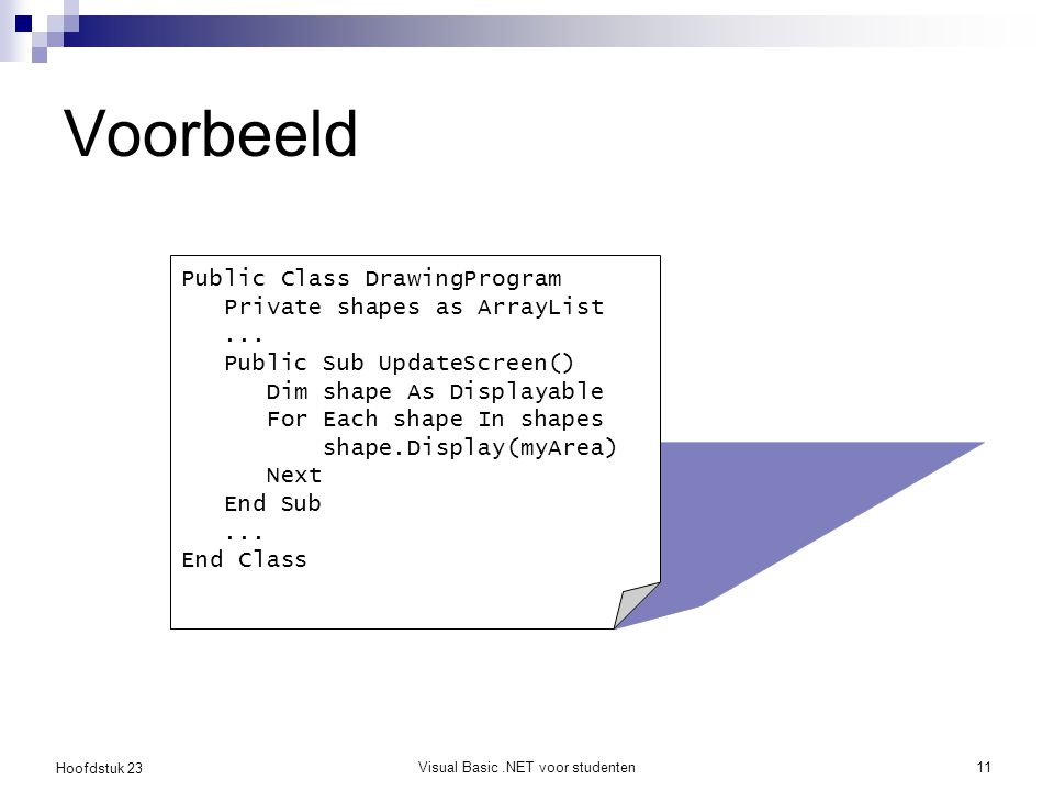 Hoofdstuk 23 Visual Basic.NET voor studenten11 Voorbeeld Public Class DrawingProgram Private shapes as ArrayList... Public Sub UpdateScreen() Dim shap