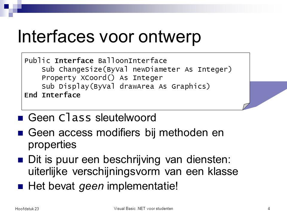 Hoofdstuk 23 Visual Basic.NET voor studenten4 Interfaces voor ontwerp Geen Class sleutelwoord Geen access modifiers bij methoden en properties Dit is