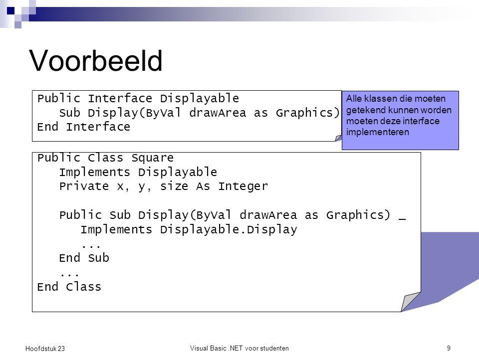 Hoofdstuk 23 Visual Basic.NET voor studenten9 Voorbeeld Public Interface Displayable Sub Display(ByVal drawArea as Graphics) End Interface Alle klasse