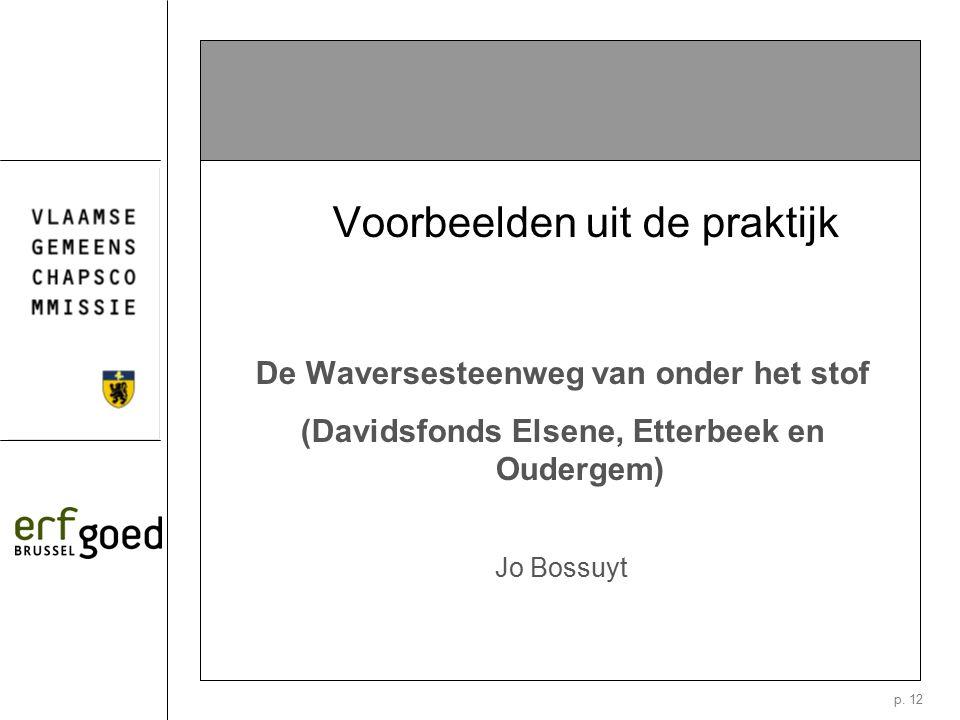 p. 12 Voorbeelden uit de praktijk De Waversesteenweg van onder het stof (Davidsfonds Elsene, Etterbeek en Oudergem) Jo Bossuyt