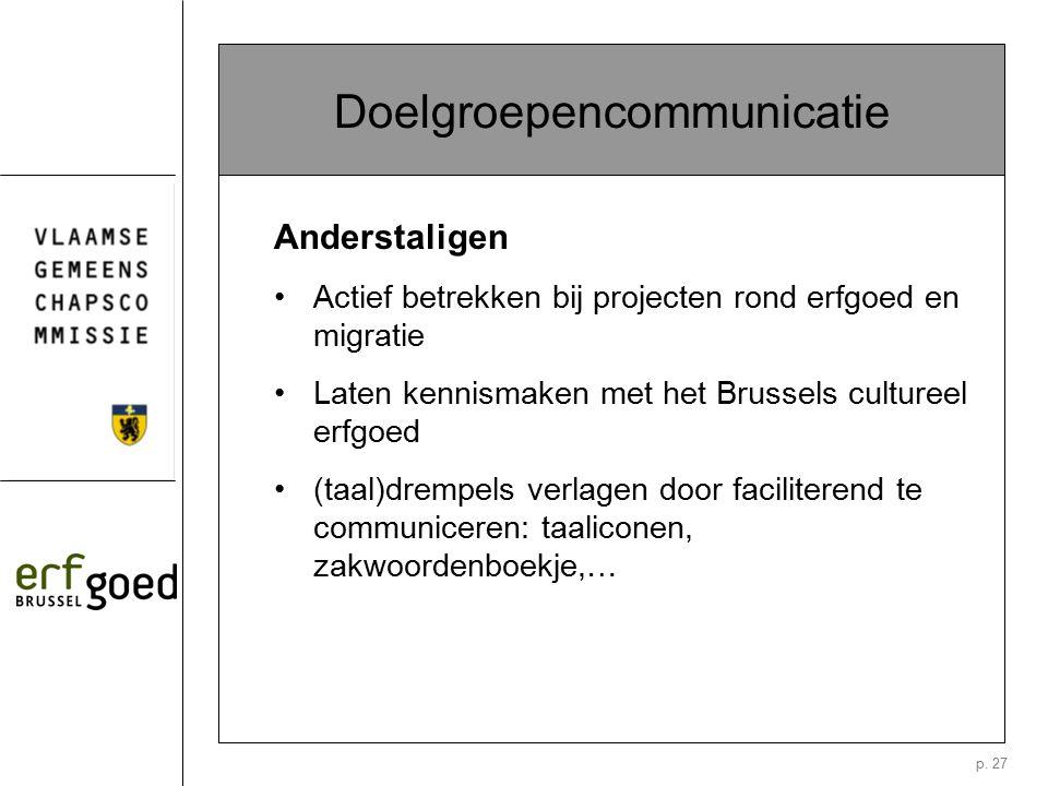 p. 27 Doelgroepencommunicatie Anderstaligen Actief betrekken bij projecten rond erfgoed en migratie Laten kennismaken met het Brussels cultureel erfgo