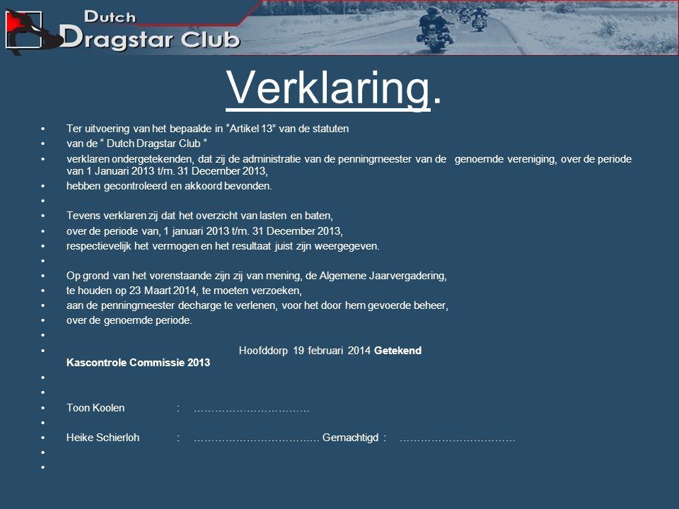 Verslag Kascommissie De kascontrole is uitgevoerd door: – Toon Koolen. – Heike Schierloh Decharge kascommissie voor gevoerd beleid 2013.