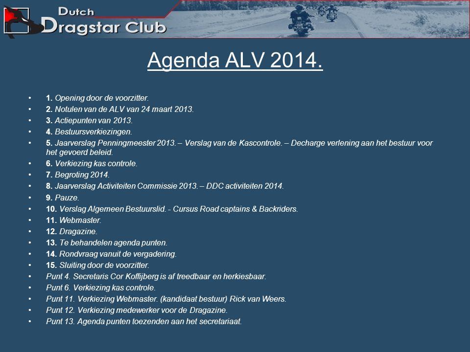 Agenda ALV 2014.1. Opening door de voorzitter. 2.