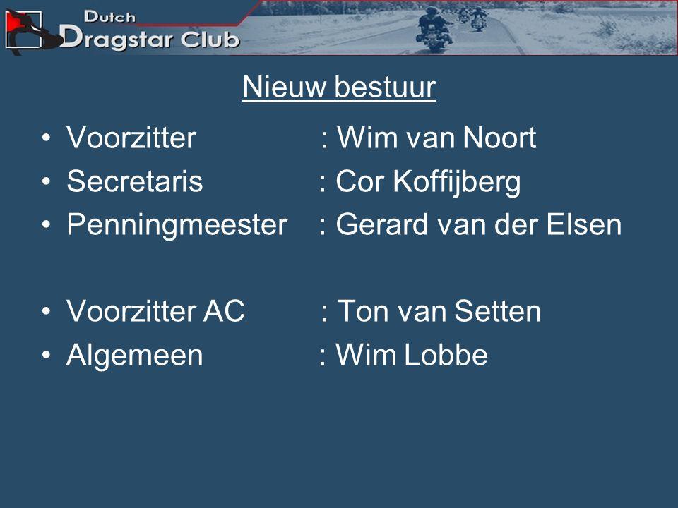 Nieuw bestuur Voorzitter : Wim van Noort Secretaris : Cor Koffijberg Penningmeester : Gerard van der Elsen Voorzitter AC : Ton van Setten Algemeen : Wim Lobbe