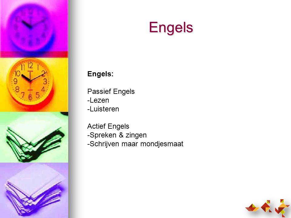 Engels Engels: Passief Engels -Lezen -Luisteren Actief Engels -Spreken & zingen -Schrijven maar mondjesmaat