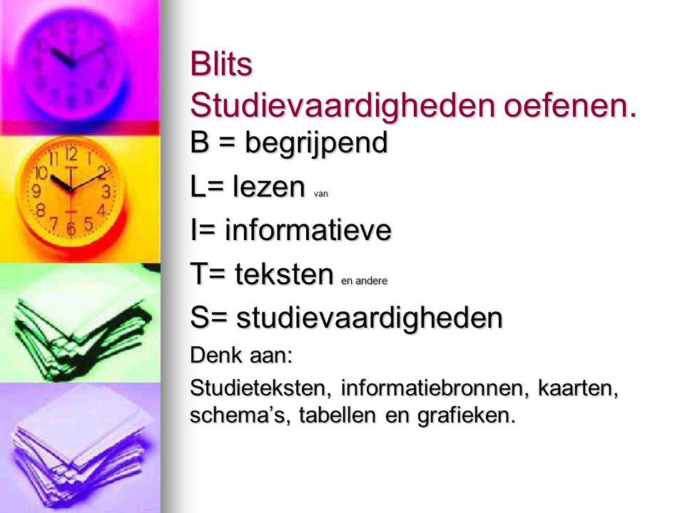 Blits Studievaardigheden oefenen.