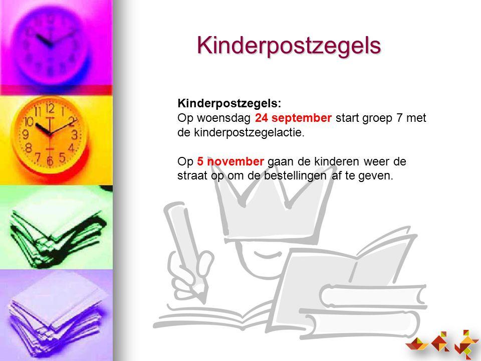 Kinderpostzegels Kinderpostzegels: Op woensdag 24 september start groep 7 met de kinderpostzegelactie.