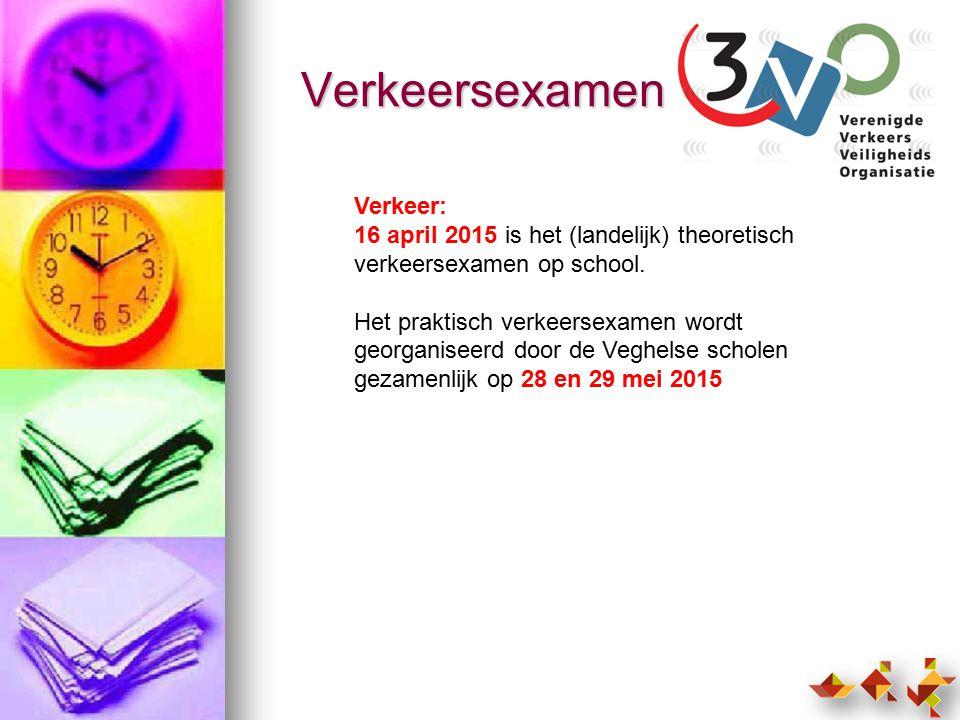 Verkeersexamen Verkeer: 16 april 2015 is het (landelijk) theoretisch verkeersexamen op school.