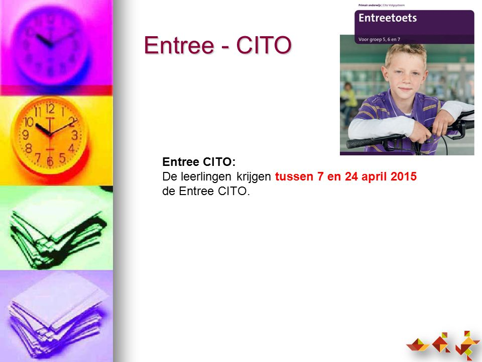 Entree - CITO Entree CITO: De leerlingen krijgen tussen 7 en 24 april 2015 de Entree CITO.