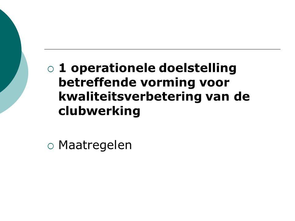  1 operationele doelstelling betreffende vorming voor kwaliteitsverbetering van de clubwerking  Maatregelen