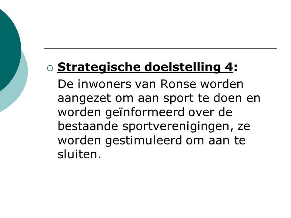  Strategische doelstelling 4: De inwoners van Ronse worden aangezet om aan sport te doen en worden geïnformeerd over de bestaande sportverenigingen, ze worden gestimuleerd om aan te sluiten.