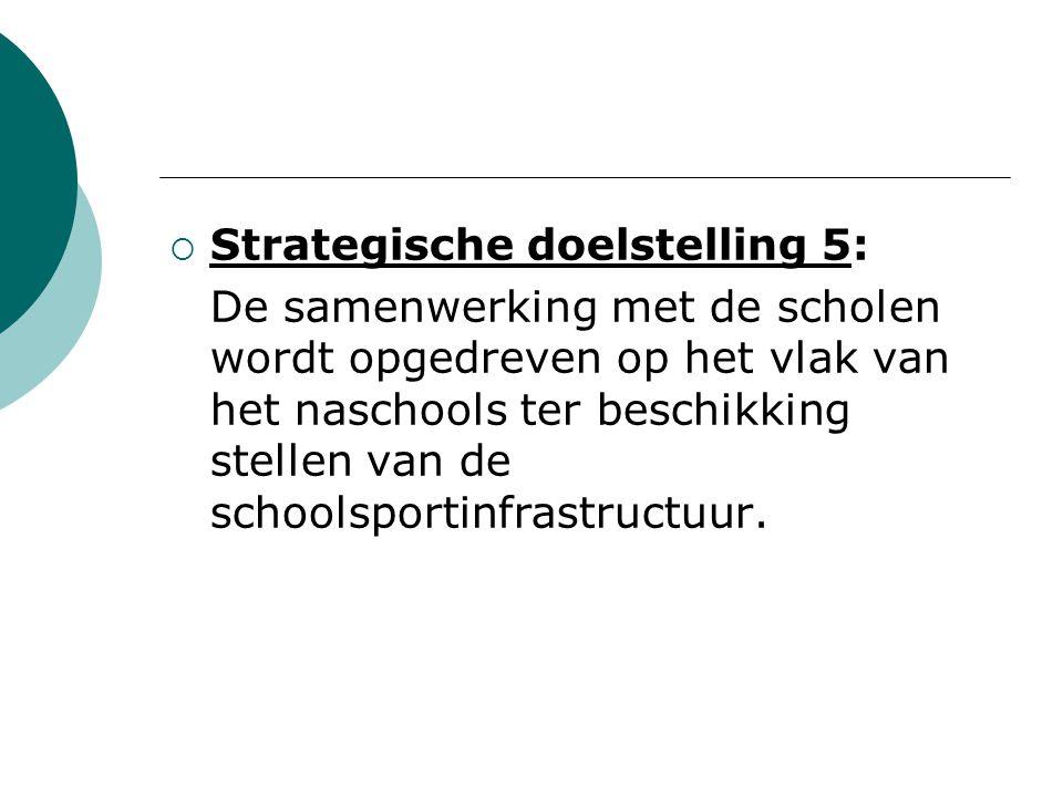  Strategische doelstelling 5: De samenwerking met de scholen wordt opgedreven op het vlak van het naschools ter beschikking stellen van de schoolsportinfrastructuur.