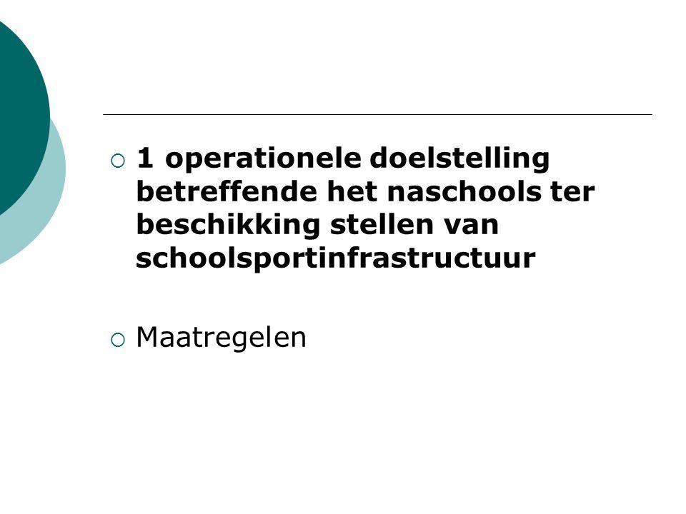 1 operationele doelstelling betreffende het naschools ter beschikking stellen van schoolsportinfrastructuur  Maatregelen