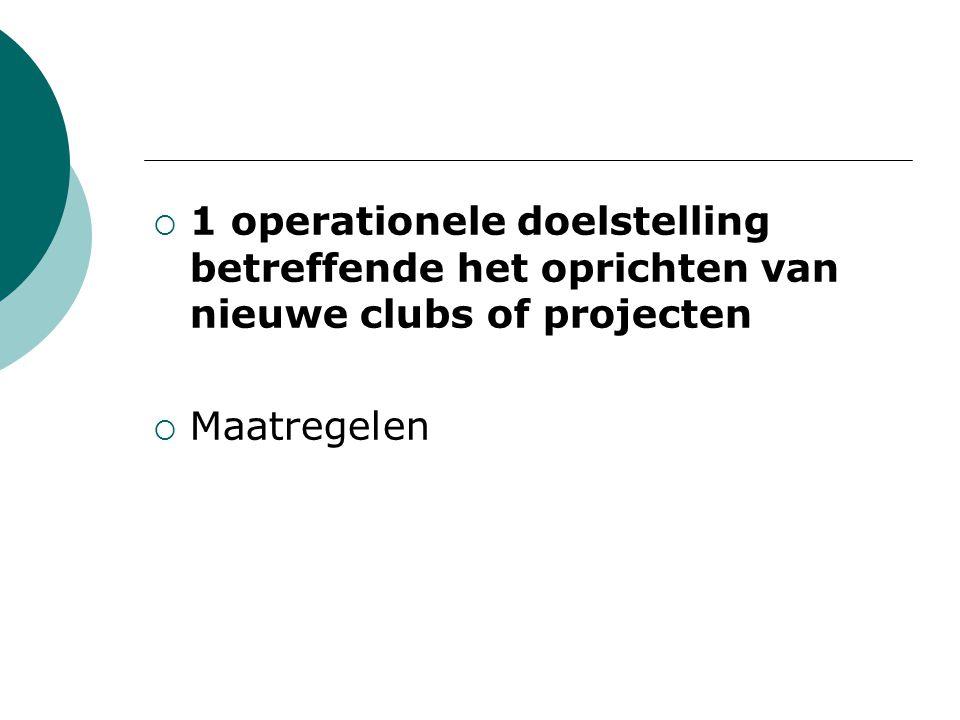  1 operationele doelstelling betreffende het oprichten van nieuwe clubs of projecten  Maatregelen