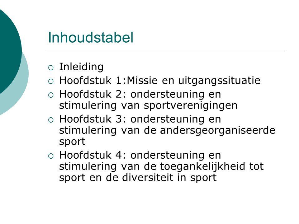 Inhoudstabel  Inleiding  Hoofdstuk 1:Missie en uitgangssituatie  Hoofdstuk 2: ondersteuning en stimulering van sportverenigingen  Hoofdstuk 3: ondersteuning en stimulering van de andersgeorganiseerde sport  Hoofdstuk 4: ondersteuning en stimulering van de toegankelijkheid tot sport en de diversiteit in sport