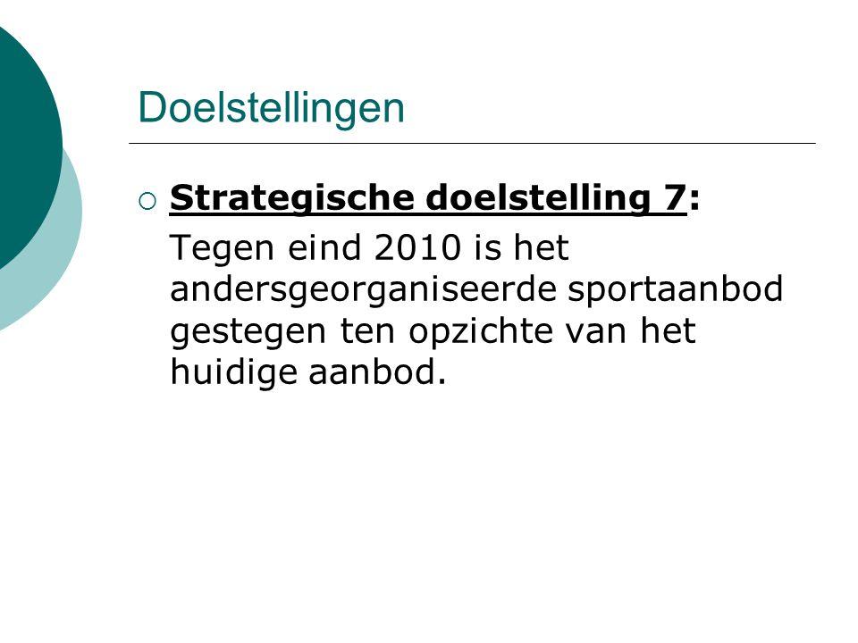 Doelstellingen  Strategische doelstelling 7: Tegen eind 2010 is het andersgeorganiseerde sportaanbod gestegen ten opzichte van het huidige aanbod.