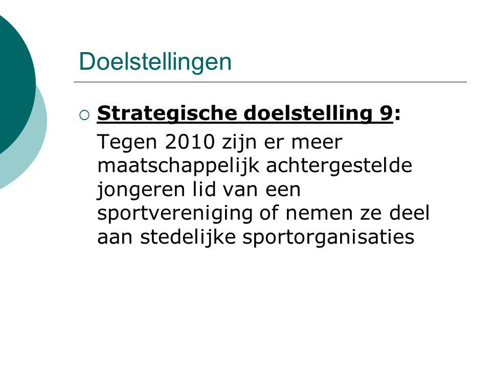 Doelstellingen  Strategische doelstelling 9: Tegen 2010 zijn er meer maatschappelijk achtergestelde jongeren lid van een sportvereniging of nemen ze deel aan stedelijke sportorganisaties