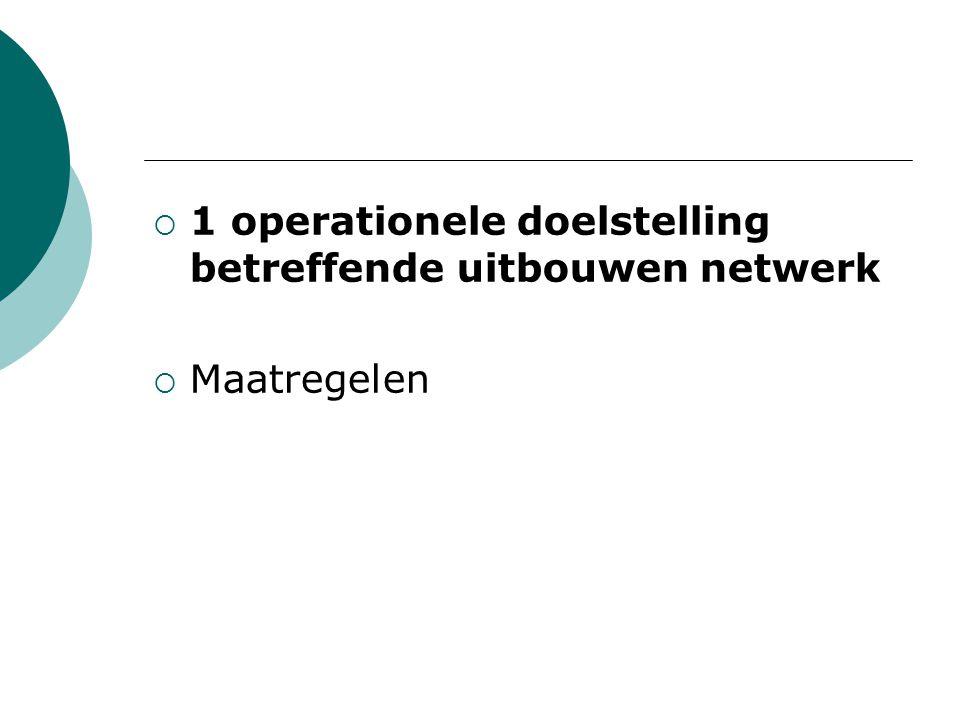  1 operationele doelstelling betreffende uitbouwen netwerk  Maatregelen
