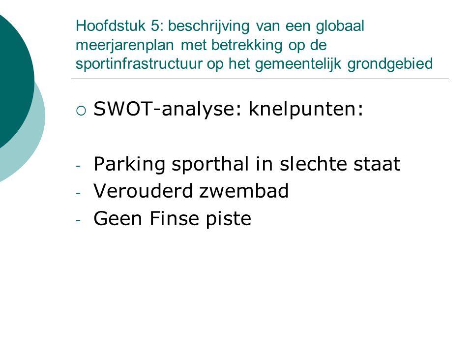 Hoofdstuk 5: beschrijving van een globaal meerjarenplan met betrekking op de sportinfrastructuur op het gemeentelijk grondgebied  SWOT-analyse: knelpunten: - Parking sporthal in slechte staat - Verouderd zwembad - Geen Finse piste