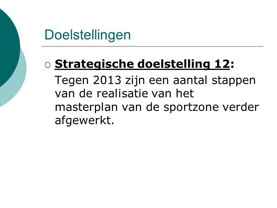Doelstellingen  Strategische doelstelling 12: Tegen 2013 zijn een aantal stappen van de realisatie van het masterplan van de sportzone verder afgewerkt.