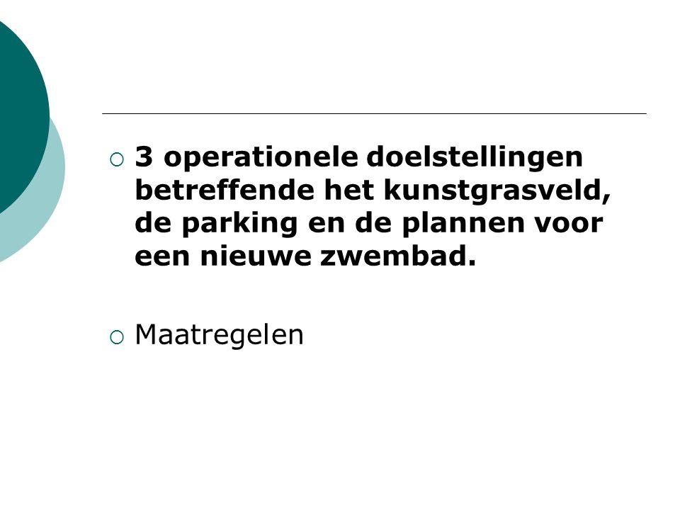  3 operationele doelstellingen betreffende het kunstgrasveld, de parking en de plannen voor een nieuwe zwembad.