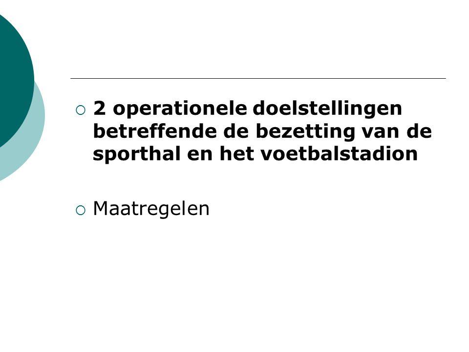  2 operationele doelstellingen betreffende de bezetting van de sporthal en het voetbalstadion  Maatregelen