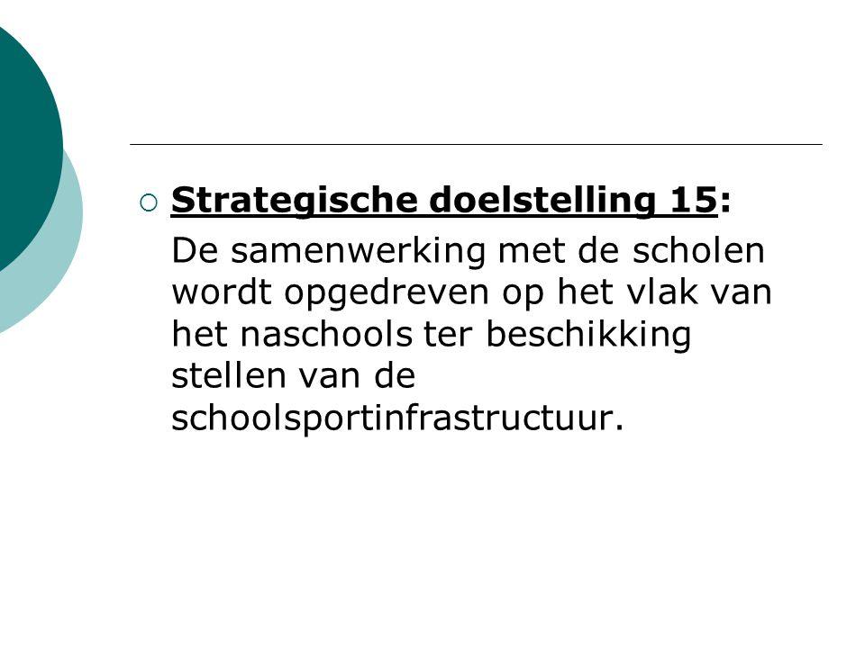  Strategische doelstelling 15: De samenwerking met de scholen wordt opgedreven op het vlak van het naschools ter beschikking stellen van de schoolsportinfrastructuur.
