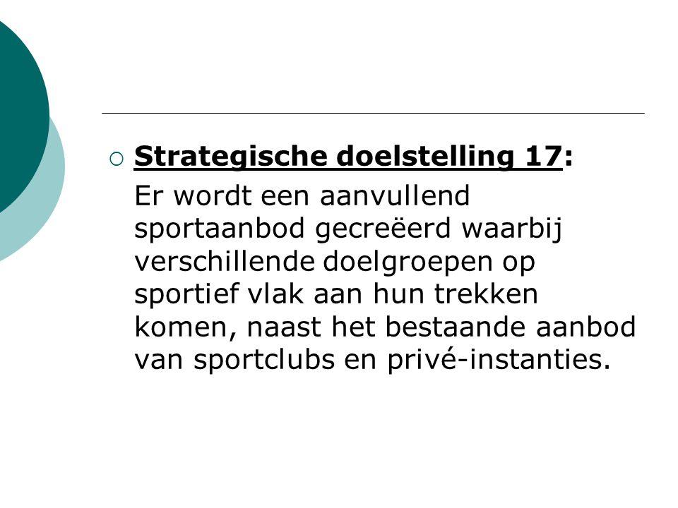  Strategische doelstelling 17: Er wordt een aanvullend sportaanbod gecreëerd waarbij verschillende doelgroepen op sportief vlak aan hun trekken komen, naast het bestaande aanbod van sportclubs en privé-instanties.