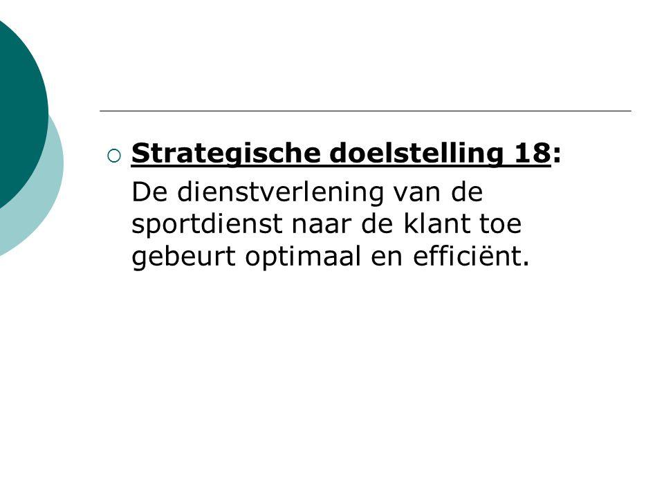  Strategische doelstelling 18: De dienstverlening van de sportdienst naar de klant toe gebeurt optimaal en efficiënt.