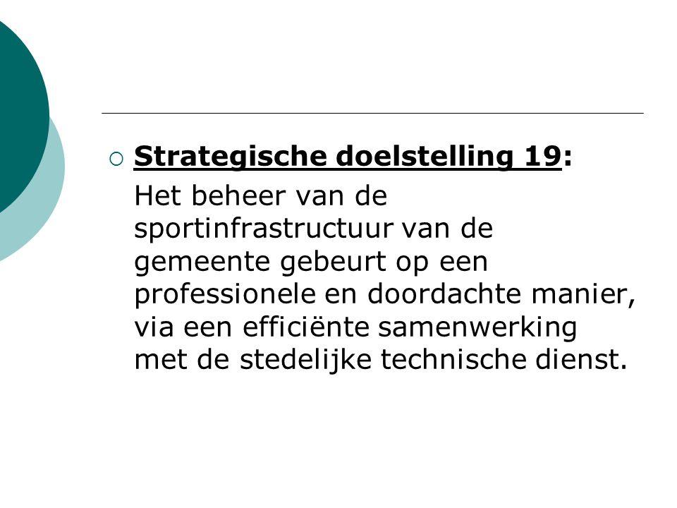  Strategische doelstelling 19: Het beheer van de sportinfrastructuur van de gemeente gebeurt op een professionele en doordachte manier, via een efficiënte samenwerking met de stedelijke technische dienst.