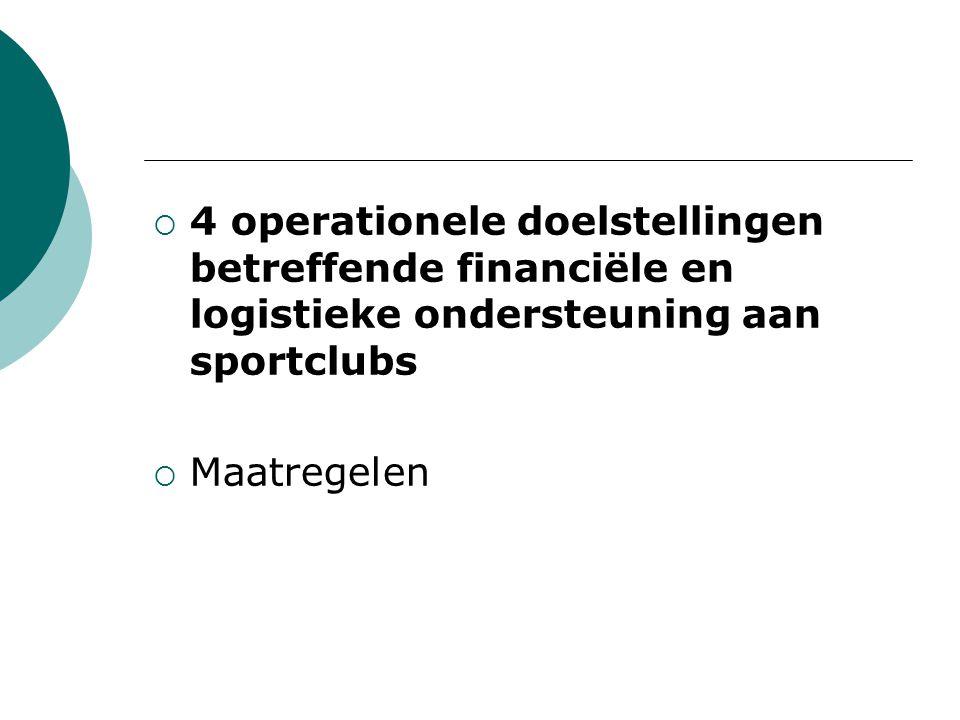  4 operationele doelstellingen betreffende financiële en logistieke ondersteuning aan sportclubs  Maatregelen