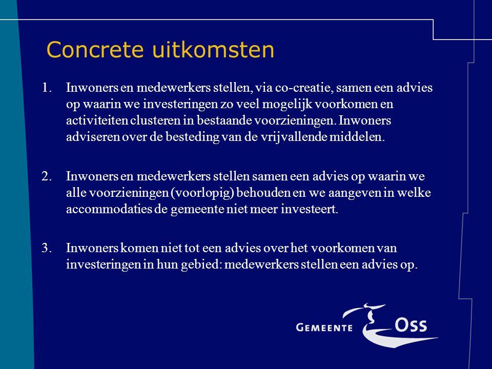 Concrete uitkomsten 1.Inwoners en medewerkers stellen, via co-creatie, samen een advies op waarin we investeringen zo veel mogelijk voorkomen en activiteiten clusteren in bestaande voorzieningen.