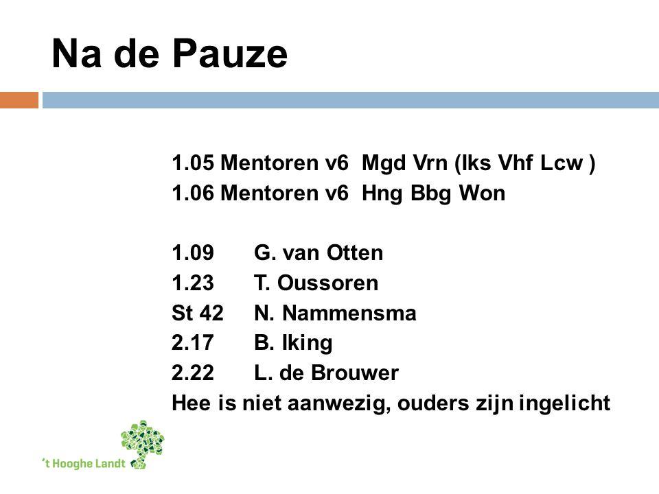 Na de Pauze 1.05 Mentoren v6 Mgd Vrn (Iks Vhf Lcw ) 1.06 Mentoren v6 Hng Bbg Won 1.09G.