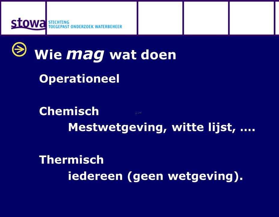 Wie mag wat doen Operationeel Chemisch Mestwetgeving, witte lijst, …. Thermisch iedereen (geen wetgeving).