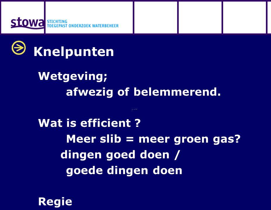 Knelpunten Wetgeving; afwezig of belemmerend. Wat is efficient .