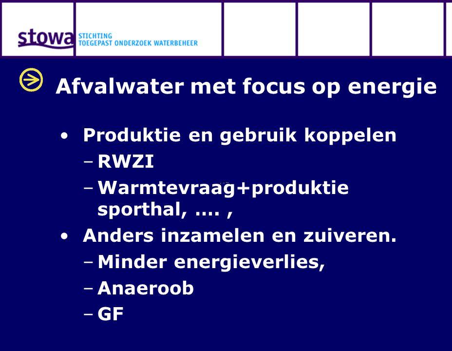 Afvalwater met focus op energie Produktie en gebruik koppelen –RWZI –Warmtevraag+produktie sporthal, …., Anders inzamelen en zuiveren. –Minder energie