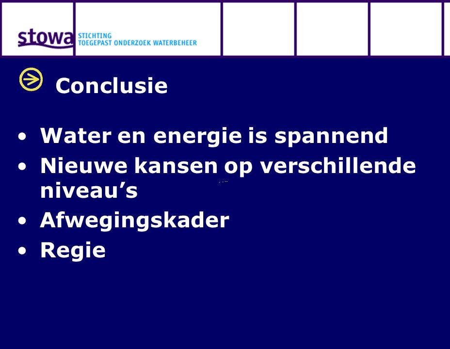 Conclusie Water en energie is spannend Nieuwe kansen op verschillende niveau's Afwegingskader Regie
